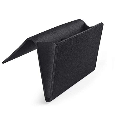 eujiancai Thicker Bedside Pocket, Felt Bedside Caddy Home Sofa Desk Bed Caddy Storage Organizer with Cable 2 Small Pockets for Organizing Tablet Magazine Phone Small Things Holder (Black) -