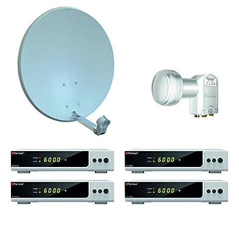 Opticum HD AX 300 Digitale 4 Teilnehmer Satelliten-Komplettanlage mit HDTV-Receiver (Quad-LNB, 60 cm Antenne) grau/silber (TÜV zetifiziert)