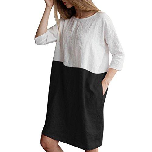 TEBAISE Mid Season Mode Frauen Outdoor Dating Home Party Casual Patchwork 1/2 Ärmeln Baumwolle Leinen Lose Taschen Tunika Kleid Rock(Schwarz,EU-48/CN-XL)
