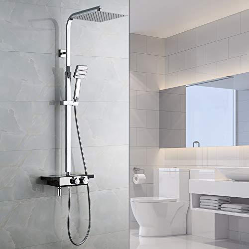 Auralum Duscharmatur mit Regal und Hahn 3-Funktion Duschsystem Duschset mit Duschkopf Handbrause Verstellbar Duschstange