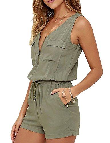 Minetom Damen Sommer Strand V-Ausschnitt Reißverschluss Vorne Jumpsuit Kurz Hose Overall Romper Playsuit Weste Shorts Clubwear