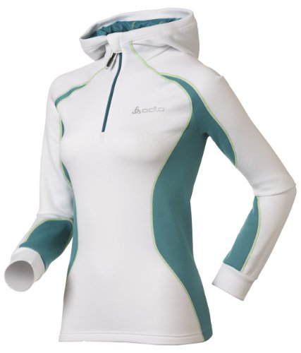 Odlo Damen Pullover Hoody 1/2 Zip Fellhorn, white - tile blue - jasmine green, XL, 220701 1/2 Zip Hoody