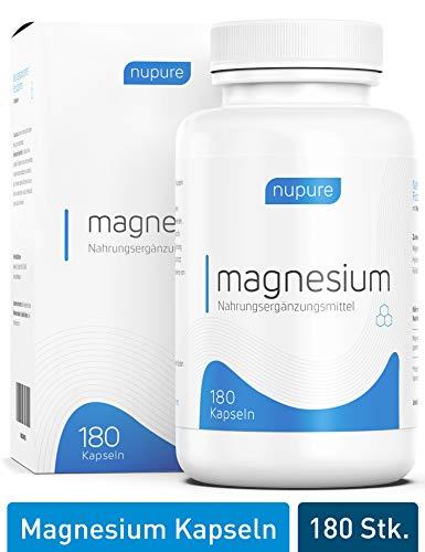 TESTSIEGER 02/19: Nupure Magnesium - 180 Magnesium Kapseln mit Magnesiumcitrat und Magnesiumoxid, hohe Bioverfügbarkeit, ohne Zusatzstoffe