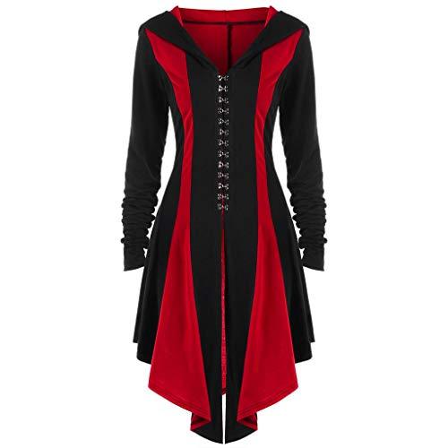 CommittedeDamen Mittelalterliches Vintage Frack Jacke Gothic Unregelmäßig Steampunk Mantel Coat Uniform Kostüm gotisch viktorianisch Frack Jacke Halloween Cosplay Kostüm (Gotische Viktorianische Kleider Kostüm)