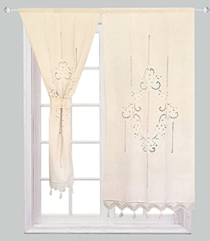 ZHH 1 Pair Curtains, Hollow Out Floral Natural Cotton Crochet Tape Top Beige Curtains 27
