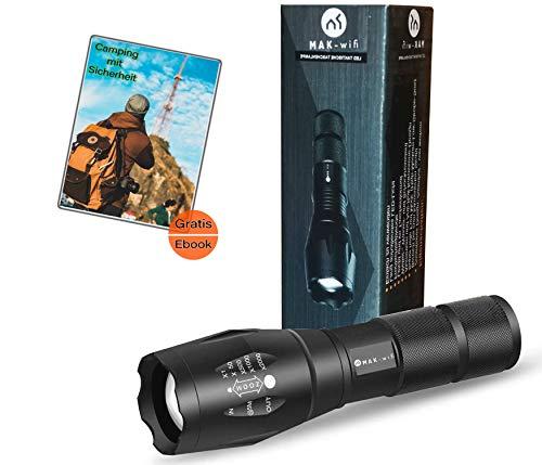 LED Wiederaufladbare Taschenlampe | superhelle Taschenlamp |1000 Lumen | 5 Modis für Camping/Wandern/Radfahren/Notfall
