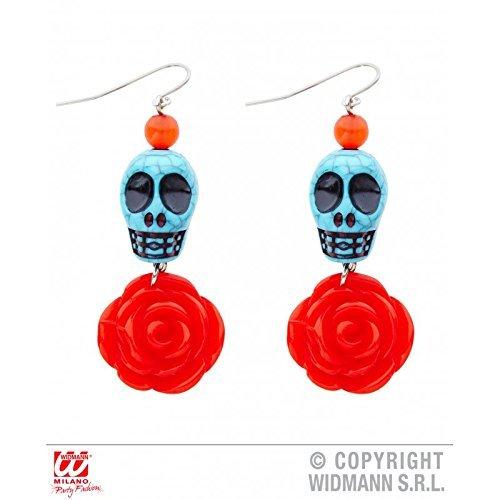 Ohrringe / Ohrschmuck Dia de los muertos / blauer Totenkopf mit roter Rose / Tag der Toten Halloween Kostüm Zubehör