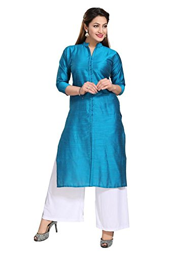Dream & Dzire Women's Silk Blue Straight Kurti for All Plus Size...