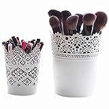 ROKOO 2 stücke Spitze Hohl Barrel Blumentöpfe Desktop Dekoration Lagerung Make-up Pinsel Halter Kerzenhalter