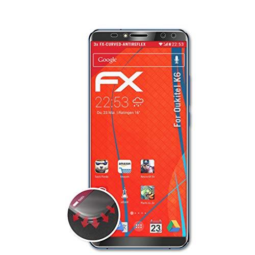 atFolix Schutzfolie passend für Oukitel K6 Folie, entspiegelnde & Flexible FX Bildschirmschutzfolie (3X)