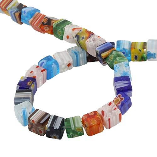 1 Strang Millefiori Perlen Glasperlen 8mm 6mm Bunte Mix Farben Würfel Form Perlenkette Schmuckperlen Bastelperlen (6mm 60 Stück) (Vasen Glas Für Perlen)