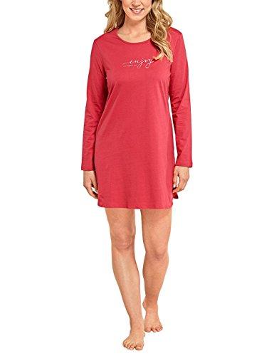 Schiesser Damen Nachthemd Selected Premium Sleepshirt 1/1 Arm, 85cm Rot (Rot 500), 38 (Herstellergröße: 038) (Baumwolle Damen-sleepshirts Aus)