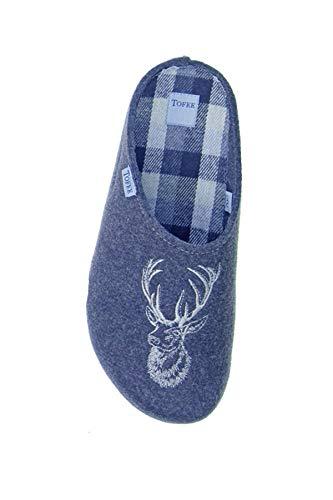 Vista Hirsch (Vista Schuh Herrenpantoffeln Tofee Hirsch blau aus Filz Gr.42)