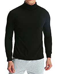 MODCHOK Homme T-Shirt à Manches Longues Top Tee Pull Col Roulé Haut Slim Fit ee440629a7aa