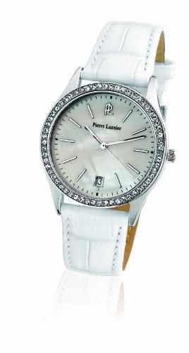 Pierre Lannier - 016K690 - Montre Femme - Quartz Analogique - Cadran Nacre - Bracelet Cuir Blanc - Strass