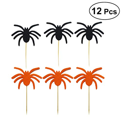 BESTOYARD 12 stücke Spinne Cupcake Toppers Halloween Kuchen Picks Cocktail-Sticks Essen Zahnstocher Halloween Party Kuchen Dekorationen (Schwarz und Orange)