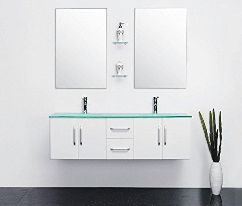 Mobile bagno arredo bagno completo modello white ice 150 cm doppio lavabo rubinetti inclusi