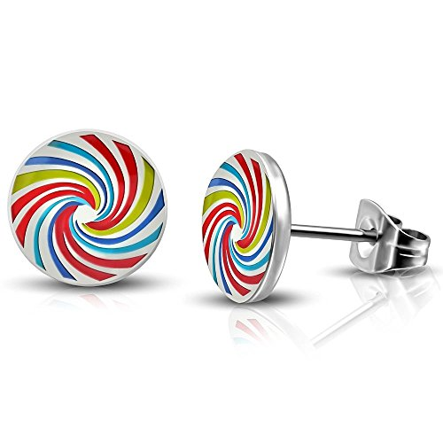 Bungsa REGENBOGEN Ohrstecker - BUNTE Spirale Twister Ohrringe silber 7mm - 1 Set (1 Paar= 2 Stück) - aus Edelstahl - Rainbow Ohrschmuck für Damen & Herren/Frauen & Männer - Stud Earrings Ohrstecker