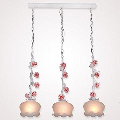 DZXYA  3 roses rose et de lustres en verre de salon chambre d'étude/Lustre Princess Garden