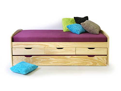 MARINELLA Funktionsbett Tandemliege 90 x 200 cm inkl. 4 Schubkästen für Kinderzimmer Jugendzimmer als Kinderbett Jugendbett Holzbett in Kiefer natur