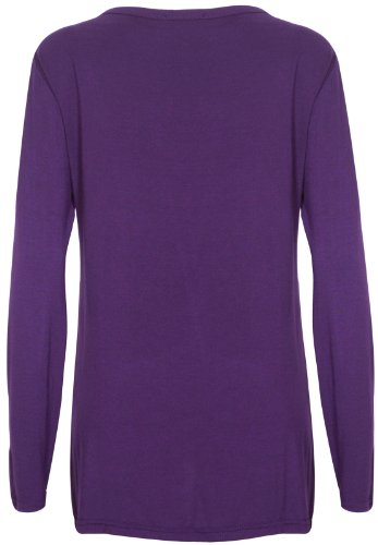 Purple Hanger - Cardigan Femme Extensible Ouvert Manche Longue Poche Violet