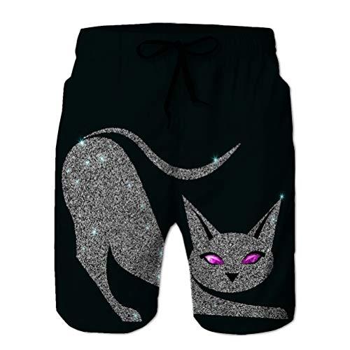 NA Teen Boys Funny Swim Trunks Quick Dry Beachwear Shorts Silver Cat Violet Eyes Silver Cat Violet Eyes...