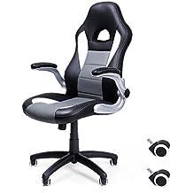 Songmics Silla giratoria de oficina Silla de escritorio Racing Recubrimiento de PU Reposabrazos ajustable OBG28G