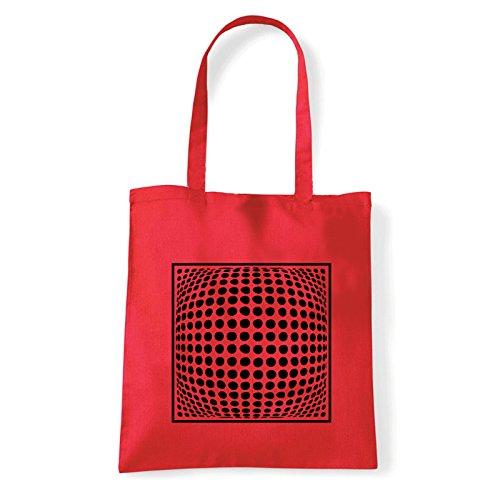 Art T-shirt, Borsa Shoulder dots-3d-effect Rosso
