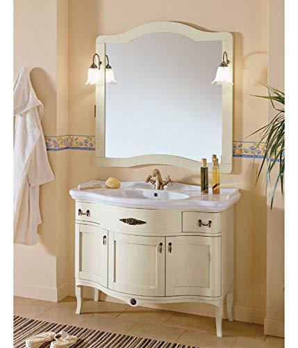 Iris bianco anticato mobile da bagno in legno in stile classico 110x60cm