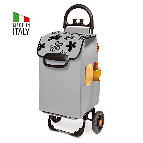 Himy Einkaufstrolley XL im grauen Blumendesign mit 78 L Volumen - Einkaufshilfe klappbar bis 50kg belastbar mit Außentaschen
