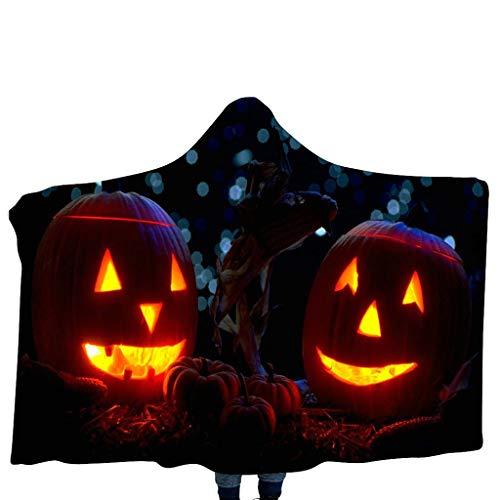 Lomelomme Halloween Kürbis Kostüm Schal Kappen Unisex Kinderdecke mit Kapuze Schal Kürbis Muster Kapuzenschal Home Decke - Russisch Kostüm Muster
