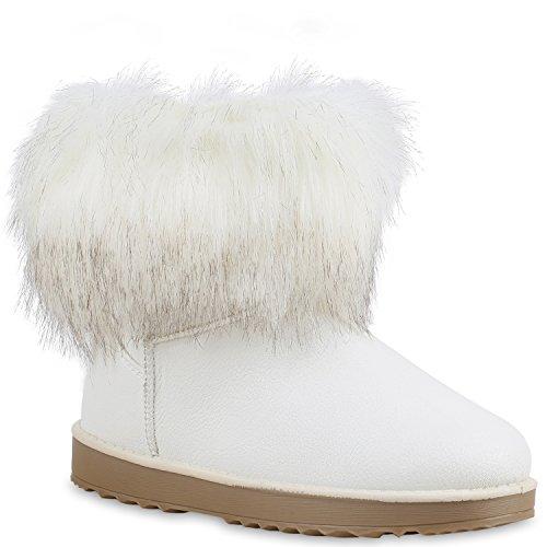 Damen Stiefeletten Stiefel Kunstfell Schlupfstiefel Boots Schuhe 59114 Weiß 38 | Flandell®