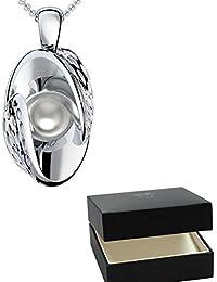 Golfschmuck Golf Schmuck Silber Kette Akoya Perle weiß 925 + inkl. Luxusetui + Akoya Perle weiß Kette Silber Perlenkette Anhänger Silber Halskette (Silber 925) - AM252 SS925PWPE