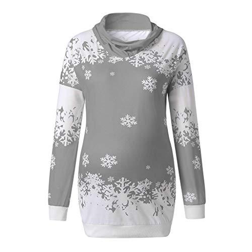 VEMOW Heißer Einzigartiges Design Mode Damen Frauen Frohe Weihnachten Schneeflocke Gedruckt Tops Cowl Neck Casual Sweatshirt Bluse(X1-a-b-Grau, EU-34/CN-S)
