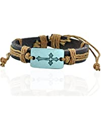 "ALPHA MAN ""Jesus Christ Is A Superstar""Woven Thread Faux Leather Bracelate"