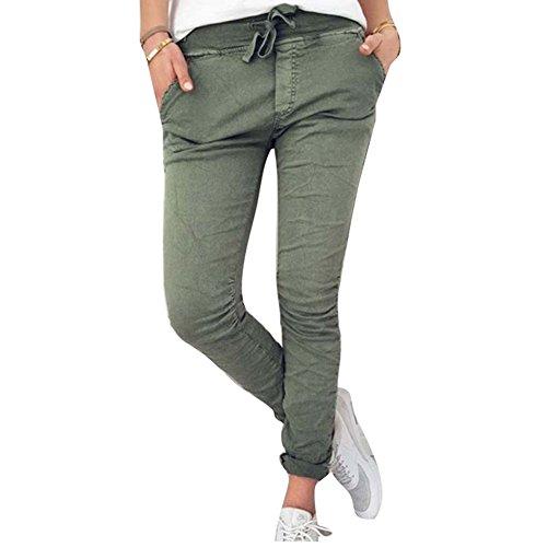 Hibote Lange Hosen für Damen Mode Einfarbig Slim Fit Hosen mit Taschen Hohe Taille Kordelzug Casual Clubwear Streetwear Hose Jeggings Übergröße