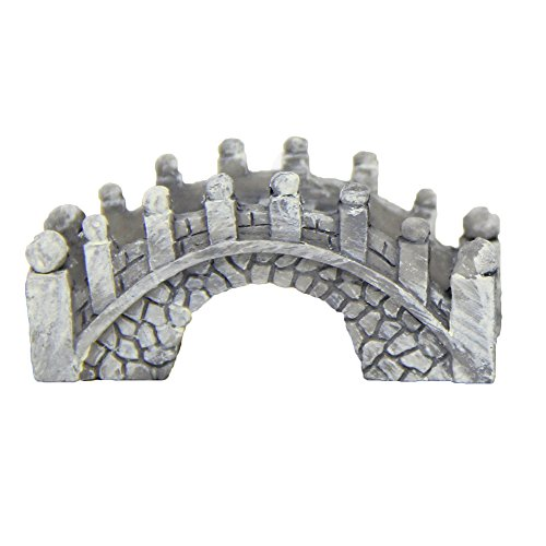 LAMEIDA Miniatur Mini Arch Bridge Fairy Garden Ornament Puppenhaus Blumentopf Figur DIY Craft für Garten Outdoor Home Decor 1,5 * 2 * 4,5 cm, Kunstharz, Grau, 1.5 * 2 * 4.5cm