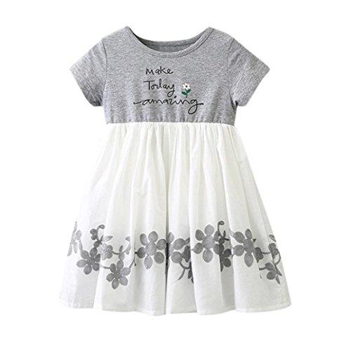 Huihong Baby Mädchen 1-5 Jahre Brief Druck Stickerei Floral Kurzarm Kleider Tutu Kleider (Grau, 3T-120)