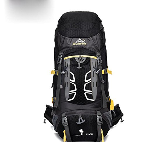 ROBAG Camping Wandern Outdoor Bergsteigen Tasche regen Abdeckung großer Kapazität Rucksack für Männer und Frauen 50 L + 5 L black