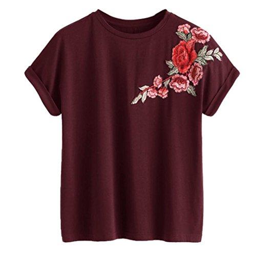 TWIFER Damen Rose Kurzarm T-Shirt V Ausschnitt Weste Crop Tops Bluse (L, X-Rot)