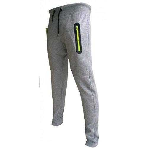 Apologize Apologize-Pantaloni da Jogging, da uomo, con cerniera, colore: giallo fluorescente, nuova collezione 2014, taglia Xs, s, m, l, xl Grigio