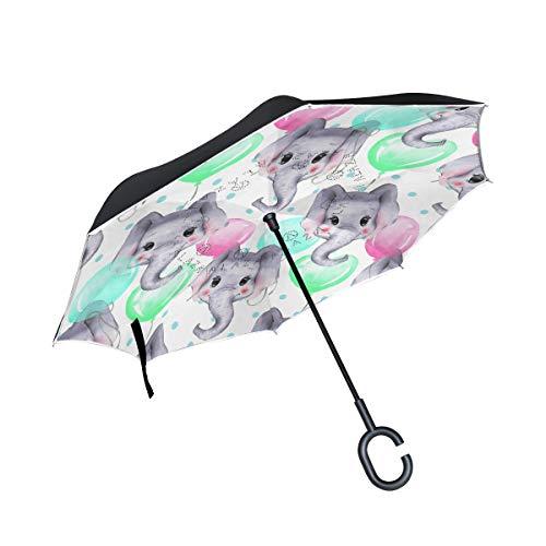 Mnsruu - Paraguas invertido con diseño de Elefantes de Acuarela de Doble...