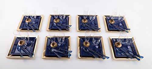 56-teiliges Party-Set in gold/blau inkl. Teller, Weinkelche, Sektflöten und Besteck