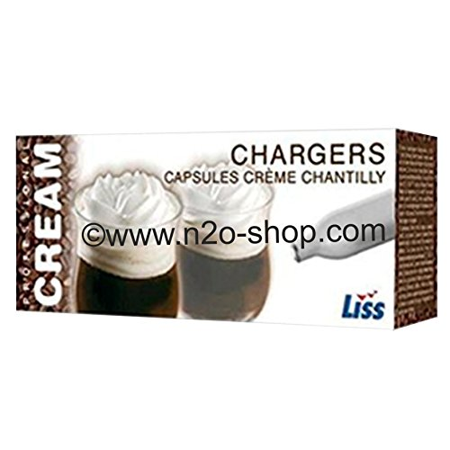 50 x 8g Liss Sahnepatronen N2O für Sahnebereiter wie iSi, Kayser, ICO, Mastrad, BestWhip, Liss u.v.m.