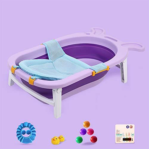 LNDD-Leichte Baby-Faltbadewanne Badezimmernetz Blume Streuen Tragbare Reise Aufbewahrungsmöglichkeit Badethermometer Robust rutschfest,Lila