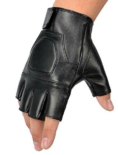 ex Halbfinger fingerlosen Jagd Reiten Radfahren Outdoor Sports Handschuhe mit Nieten Style 2 Schwarz ()