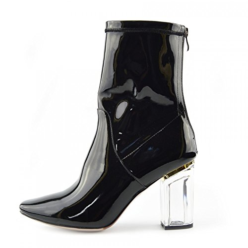 Femmes Bottines Clear Perspex Block High Heel Party Fashion Shoes - UK 7 / EU 40, Verni Noir, Clubbing Mid Chaussures À Talon Haut