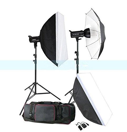 Gowe 800W illuminazione flash per studio fotografico compatto set (2x 400W) fotografia digitale luce stroboscopica e Softbox Portrait Kit