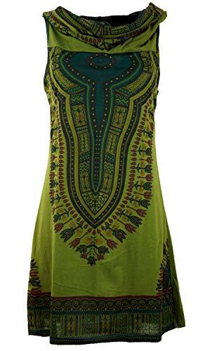 GURU-SHOP, Mini Vestido Dashiki con Capucha, Vestido Goa Festival, Verde Oliva, Algodón, Tamaño:M/L (38/40), Vestidos Cortos