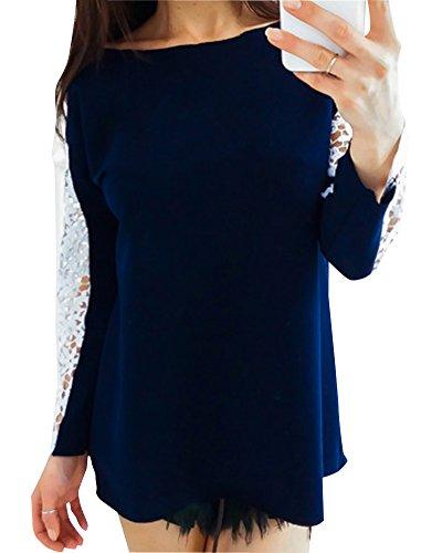 Maliga Camicetta Casual Ufficio Elegante Pizzo Maniche Lunghe Donna Tops Camicia Inferiore Nero Blu